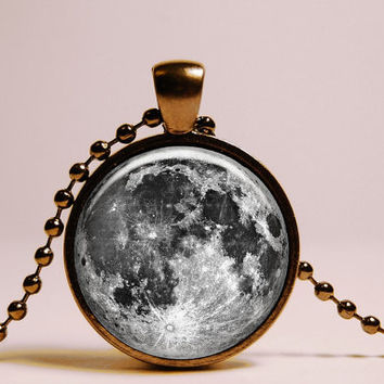 FULL MOON PENDANT - full moon Necklace - Universe moon Jewelry - gift for her or for him - free black chain