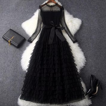 New 2018 spring summer fashion women sexy lace mesh long dress black gothic style long sleeve see through cascading dresses