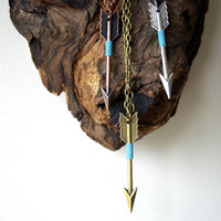 Baby Blue Wire Wrapped Arrow Necklace
