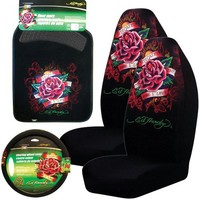 Ed Hardy Dedicated to the One I Love 5-pc Set Seat Covers, Floor Mats, Steering Wheel Cover