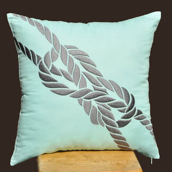 Knot Throw Pillow Cover Gray Knot on Light Blue Linen by KainKain