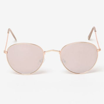 LA Hearts Lennon Round Rose Gold Mirror Sunglasses at PacSun.com