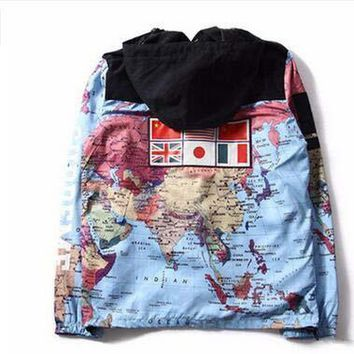 2017 Hot National Flags World Map Printing Windbreaker Patchwork Jacket Cardigan Hoodies Hat Removable Hooded Jacket 4 Color | Best Deal Online