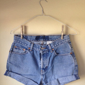 High Waisted Denim Shorts with Cuffed Leg Size Medium to Large