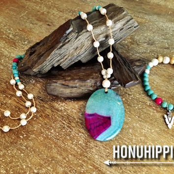 Boho hippie necklace / bracelet set. Native American inspired Mala meditation beads