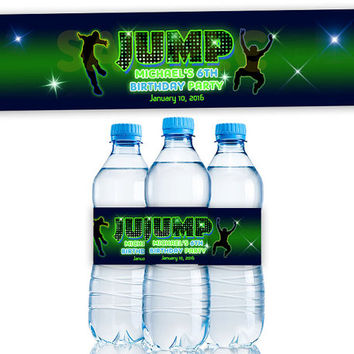 Jump Water Bottle Labels - Trampoline Birthday Party Favors - Trampoline Bottle Labels - Boy Birthday Party - Glow Personalized Neon Green