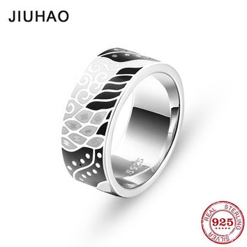 Like black white painting  for women Authentic 925 Sterling Silver charms Fashion Rings Anniversary Jewelry Enamel