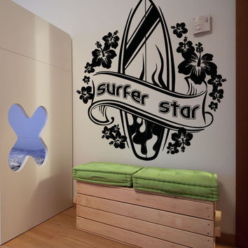 Vinyl Wall Decal Sticker Surfer Star #OS_AA1240