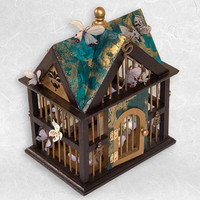 Bird House with Butterflies - Teal and Black with Spring Flowers