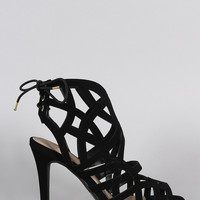 Qupid Caged Back Lace Up Open Toe Heel