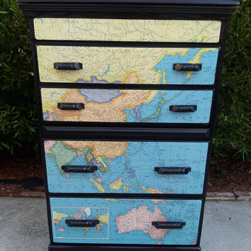 SPRING SALE! Vintage One of a Kind Map Dresser / Drop Front Desk Decoupaged Painted