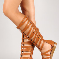Qupid Strappy Gladiator Knee High Flat Sandal