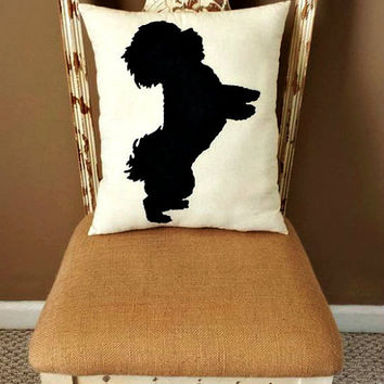 Bichon Frise Dog, Maltipoo Dog, Maltese, Dog Silhouette Throw Pillow, Home Decor, Pets, Dog Pillow, Dorm Decor,Sofa Pillow **FREE SHIPPING**