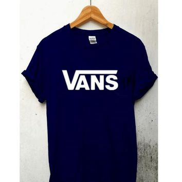 VansFashion short sleeve leisure T-shirt top Black white