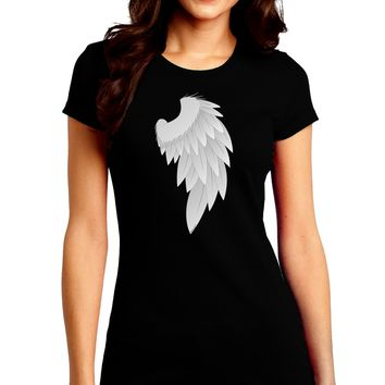 Single Right Angel Wing Design - Couples Juniors Crew Dark T-Shirt