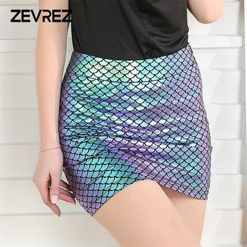 Summer Women Fish Scales Sexy Plus Size Skirts