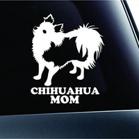 Long-haired Chihuahua Mom Silhouette Symbol Decal Paw Print Dog Puppy Pet Family Breed Love Car Truck Sticker Window (White)
