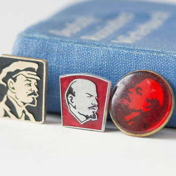Lenin pins badges Soviet, red silver shades Lenin profile pins set of 3, propaganda badges Lenin USSR