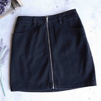 wild honey - run this town - denim zip skirt - black