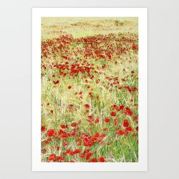 Windy poppies Art Print by Guido Montañés