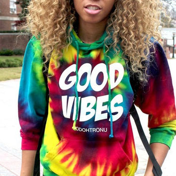 Good Vibes Tie Dye Hoodie - XODOHTRONU - Stylish Street Wear & Luxury Unisex Apparel.