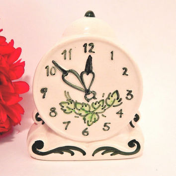 Porcelain Clock Wall Pocket Vintage Home Decor Mid-Century Vegetable Garden Ceramic Knicknack
