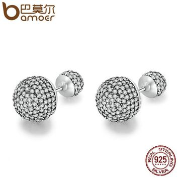 925 Sterling Silver Classic Pave Drops, CZ Round Stud Earrings for Women Jewelry