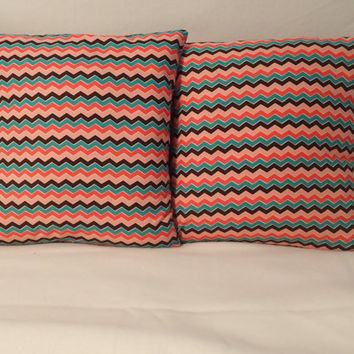 Decorative Pillow Cover Throw pillow Cover Single 16 x 16  Pink Black Red Green Chevron Modern