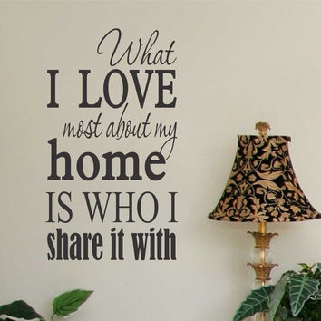 Romantic Vinyl Wall Lettering Love About my Home Who Share Subway Art Decal