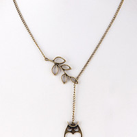 Antique Owl Cutout Leaf End Pendant Necklace