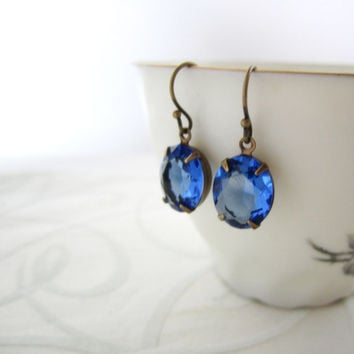 Sapphire Blue Earrings - Rhinestone Jewelry - Simple Elegant Hooks