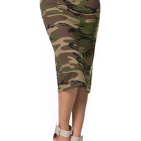 Women Military Army Camouflage Printed Straight Pencil Stretch Midi Skirts