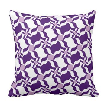 RETRO PATTERN PILLOW, Purple, White & Lavender Throw Pillow