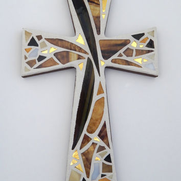 "Mosaic Wall Cross, Abstract Floral Design, ""Sunset"", Shades of Brown + Gold Mirror, Handmade Stained Glass Mosaic 12"" x 8"""