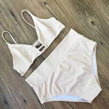 """Gotopfashion Sexy pure white hot sale chest and back hollow high waist two piece bikini swimsuit bathing suit"""""""