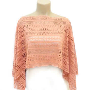 Ladies Lace Capelet, Cover up, Lace Bolero, Peach, Casual, Romantic top shrug, Chic, Soft Capelet, Salmon, Pretty, Free Shipping, Wrap, Pink