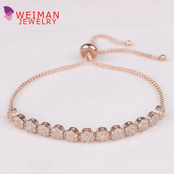 Free DHL UPS Order $100+ Adjustable Cubic Zirconia Crystal Cake Shape Zircon Bracelets for Women in Real Gold Plated