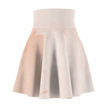 Peach Watercolor Print Skater Skirt
