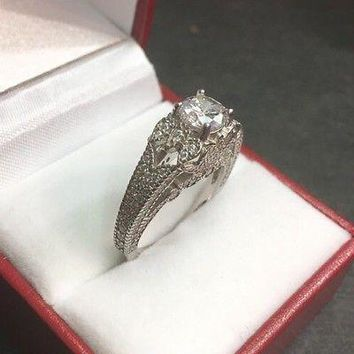 New Vintage Antique High Set Zirconia Crystal  Engagement Wedding ring Band S-7