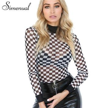 ONETOW Simenual Half turtleneck fitness bodysuits checkerboard plaid long sleeve jumpsuit hollow out sexy hot bodysuit women clothing