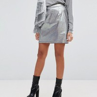 Mad But Magic Mini Skirt In Holographic Co-Ord at asos.com