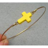 Yellow Turquoise Cross Brass Bangle Bracelet by turquoisecity