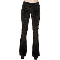 Banned Gothic Black Crushed Velvet Side Corset Bell Bottoms Flared Pants