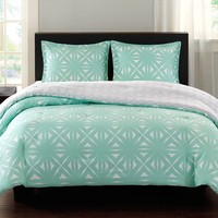 Aqua and White Lattice Comforter Set