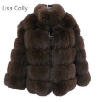 Lisa Colly New Long Fake Fox Fur Jacket Coat Women Winter Faux Fox Fur Jackets Overcoat Woman Warm Fox Fur Coats Outerwear