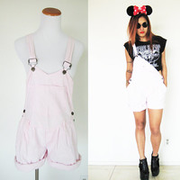 Vintage 80's light powder pink overall romper jumpsuit playsuit shorts