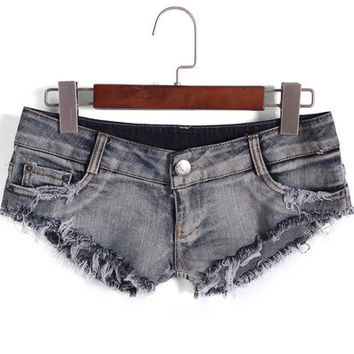 Blue Low Waist Fringed Denim Shorts