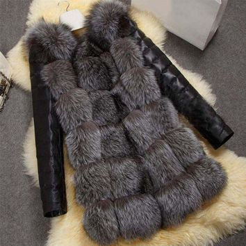 Fashion Winter Women Imitation Fox Fur Coat PU Leather Long Sleeve Jacket Keep Warm Outwear Lady Casual Overcoat S-3XL -