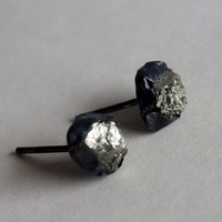 Pyrite studs Gold earrings Black earrings studs Rough narural raw organic sterling silver studs