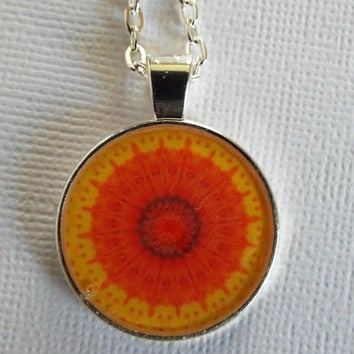 "Necklace, Gifts for Women, Jewelry, Original,  ""SUN"", Orange, Yellow, Handmade, OOAK, Gift Idea, Graphic Design, Christmas"
